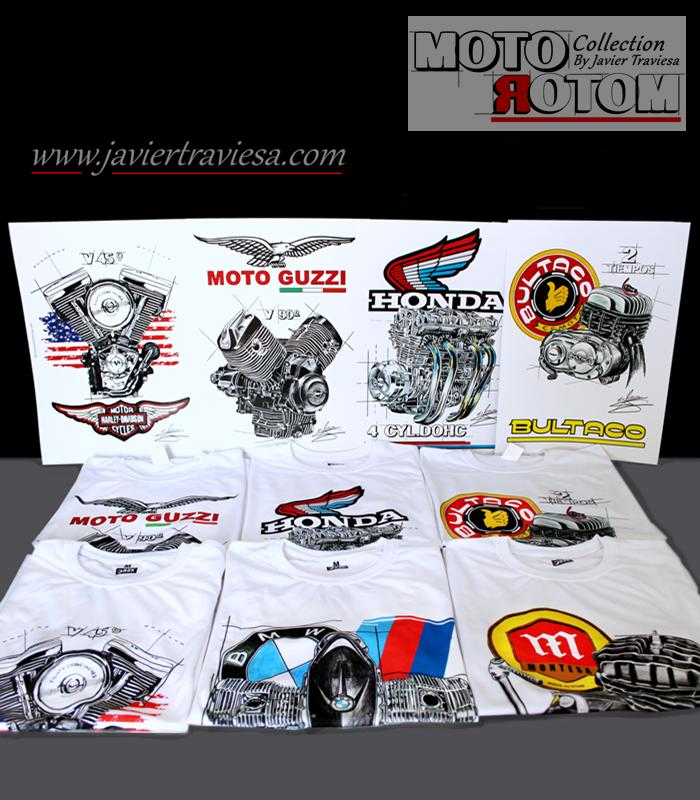 CAMISETA CON DIBUJO DE MOTOR BMW BOXER