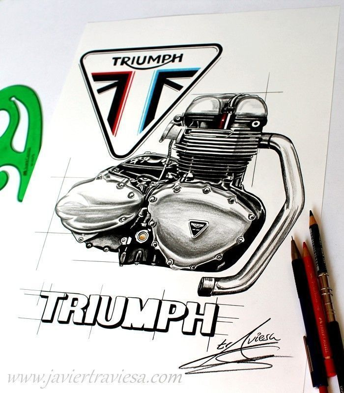 CAMISETA CON DIBUJO DE MOTOR TRIUMPH