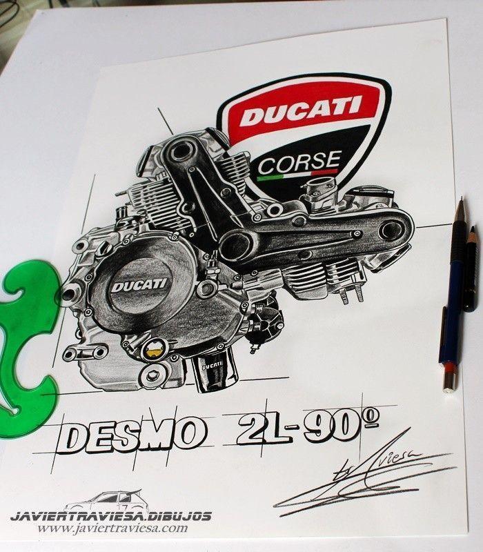 CAMISETA CON DIBUJO DE MOTOR DUCATI DESMO black