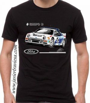 camiseta negra ford rs200 rally