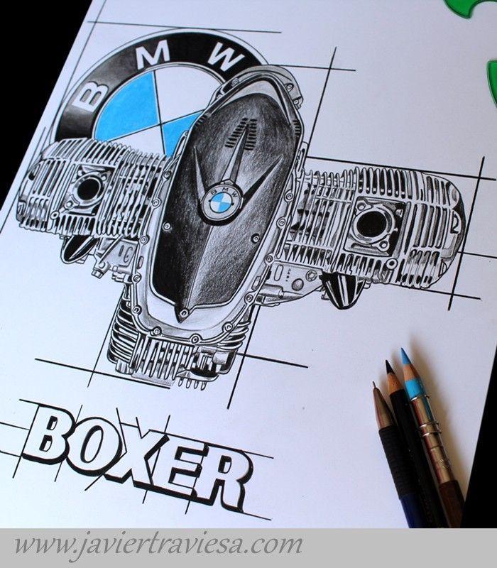 TAZA DIBUJO MOTOR BMW BOXER